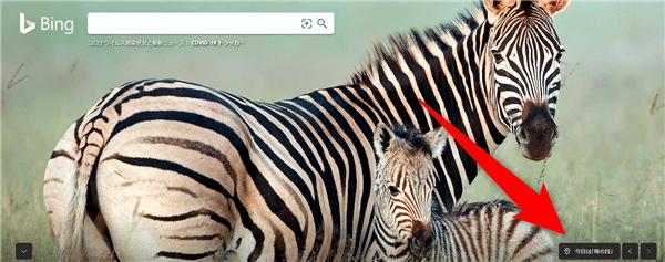 Bingの右下にあるタイトル