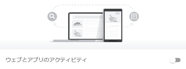 「ウェブとアプリのアクティビティ」がオフの状態