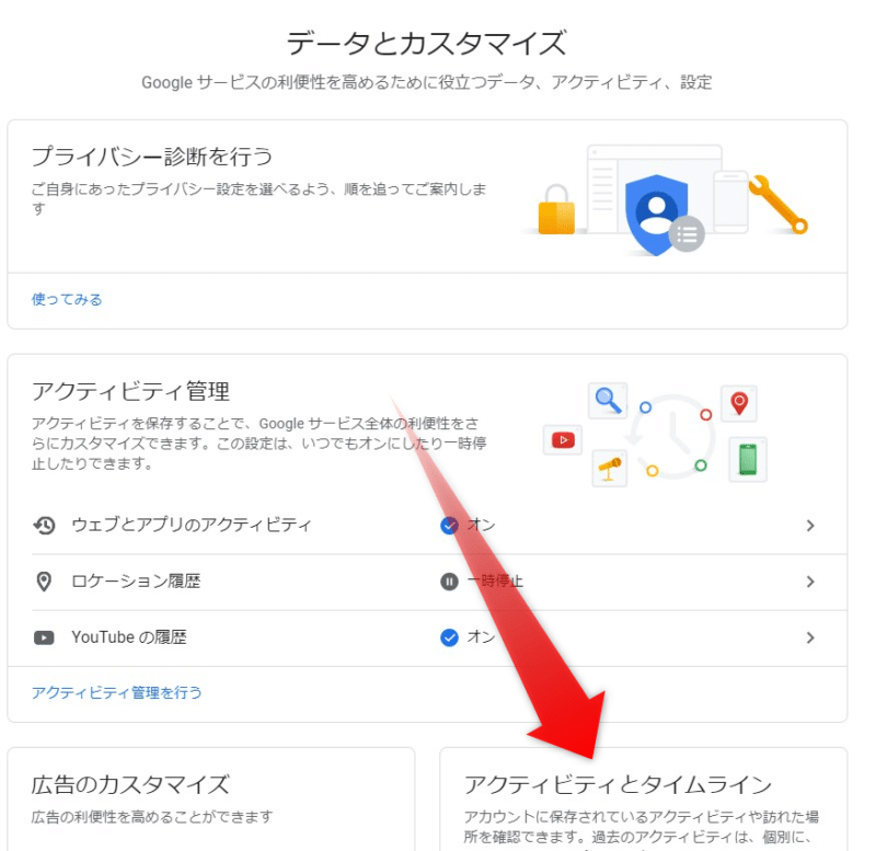 Googleで過去に検索した言葉を、全て削除する方法。